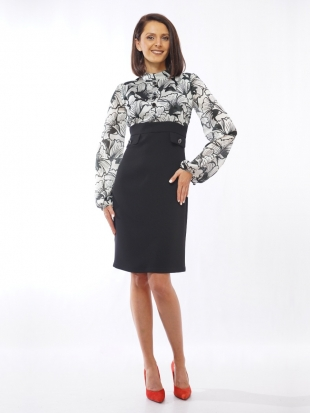 Women's silk dress in black and white with a buff sleeve 72007-111