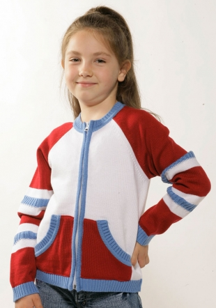White, blue and red girls cardigan Z-06/07