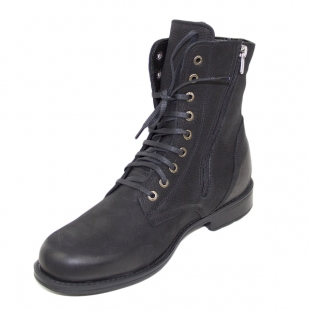 Men's black nubuck leather boots with warm fluffy lining 20673