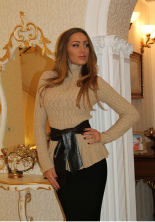 Ladies ajour knitted cardigan in beige colour Zfashion