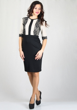 Women's dress in black with beige top and black lace  RUMENA