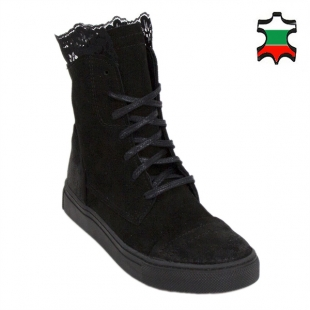 Women's black suede leather boots with lace detail 20591