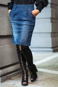 Jeans skirt with lace on pockets Avangard