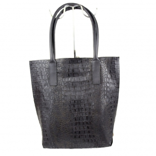 Women's black leather croco print bag 19268