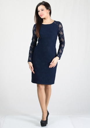 Dark blue elegant lace dress RUMENA