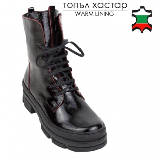 Women's black patent leather with red trim 20676