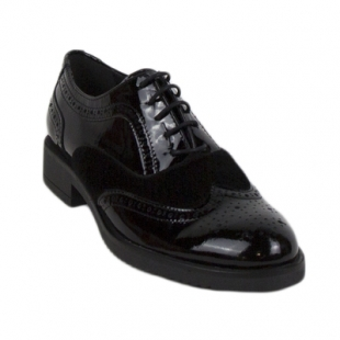 Black patent leather shoes in combination with suede 614-01lak