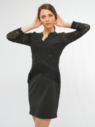 Women's lace black dress with fringe 7814