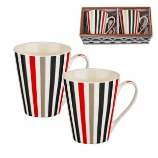 Two Coffee/Tea Mugs Set With Stripes In Four Colors New Wish