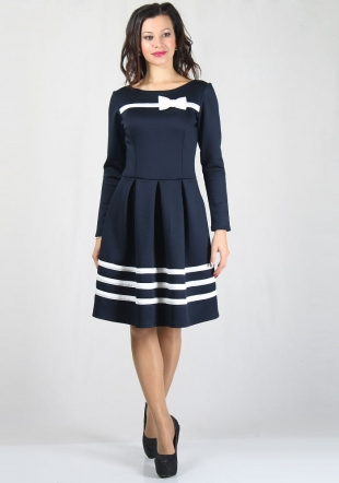 Ladies' dress in navy blue with white stripes and ribbon RUMENA