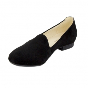 Women's black suede leather mocassins 19234