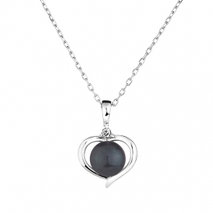 Silver heart pendant necklace with natural black pearl and zircons 1LA019NB Swan