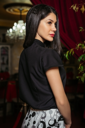 Ladies black shirt with lace Avangard