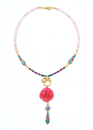 Pink Dream Necklace With Real Rose, Cloisonne Beads, Pearls and Swarovski Crystals Dannyra Jewels
