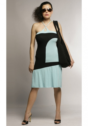 Knit summer dress in black and blue Z-07