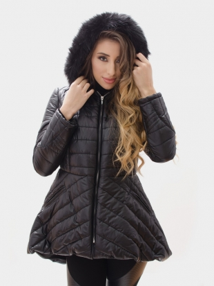 Asymmetrical Black Hooded Jacket 21803 / 3-1