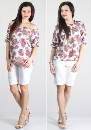 Ladies cotton roses print top with elastic neck  RUMENA