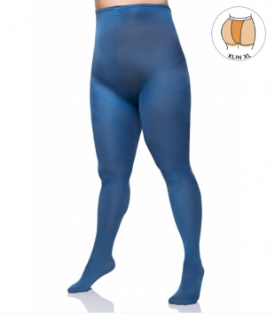 Plus size microfibre blue tights 60 DEN with additional band LIDA