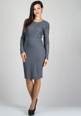Women's grey dress with lace top RUMENA