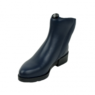 Women's dark blue boots with two zippers and warm lining 32215