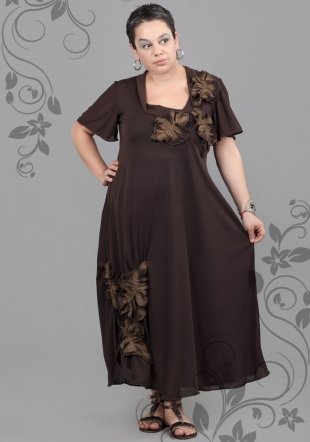 Dress plus size with with applique leaves ILINA Fashion
