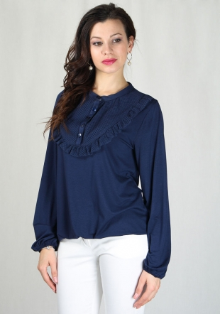 Women's blue top with lace neck RUMENA