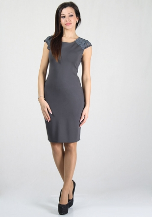 Women's grey dress with lace shoulders RUMENA
