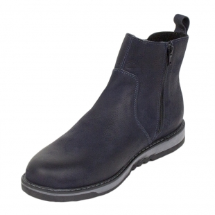 Men's blue leather boots with warm lining 34172