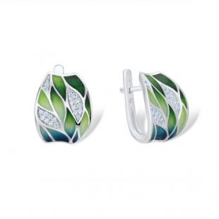 Silver earrings with hand-painted  leaves and zircon stones PJ303E Swan