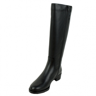 Women's black leather boots with side decorative zipper 20489