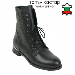 Women's black nappa leather boots with croco details leather 20454