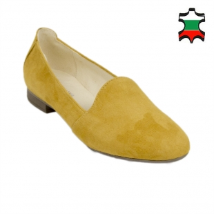 Women's mustard suede leather mocassins 19232