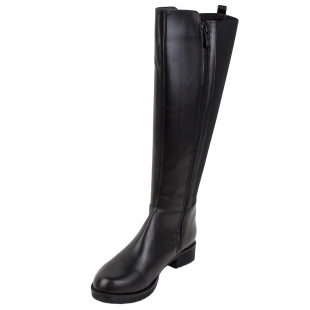 Women's nappa black leather boots with warm lining 32806