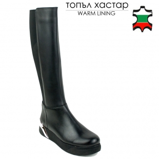 Women's black leather boots with elsatic