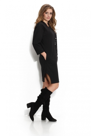 Black dress with kinitted front  Avangard