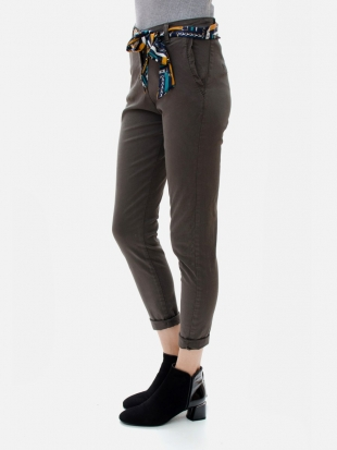 Sports pants dark brown with scarf 7686-fango