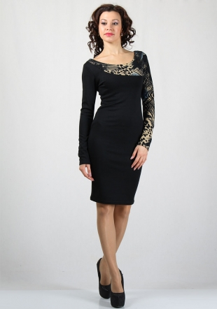 Women's dress with neck and sleeve in feather print RUMENA
