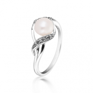 Silver ring with white freshwater pearl and zircons SR0022W Swan
