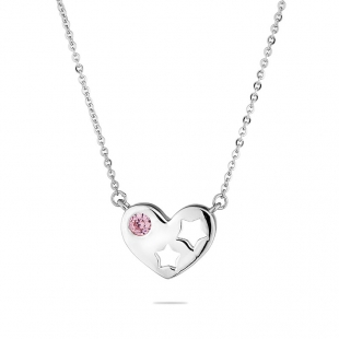 Silver heart pendant necklace with pink zircon END822N Swan
