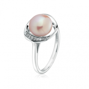 Silver ring with natural pink pearl and zirons LA924RP Swan