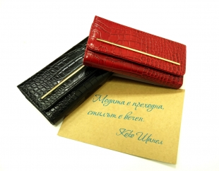 Women's wallet leather in black and red 5676-78