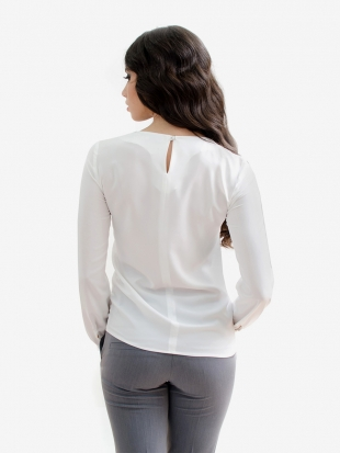 Women's essential white blouse with cuff 81902