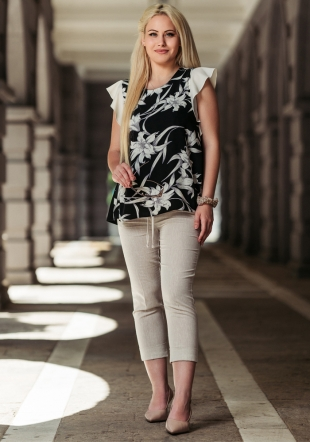 Women's set of floral tunic and beige pants Avangard