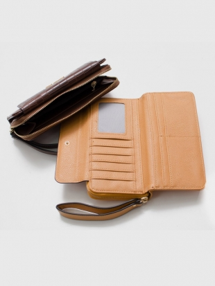 Genuine leather wallet with mustard strap and brown M558-1