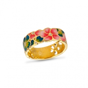 Silver gold plated ring with hand drawn flowers and zircons PJ749R Swan