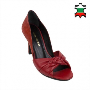 Women's elegant shoes made of genuine leather in red with decorative weave 21240