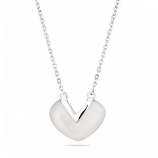 Silver Necklace with white mother of pearl GL1681N Swan