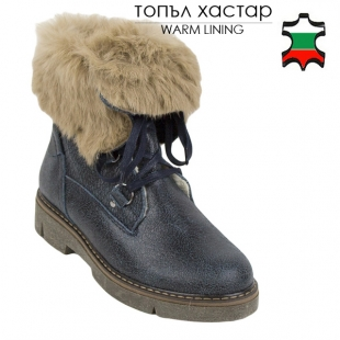 Women's dark blue leather boots with fluffy real leather collar 20448