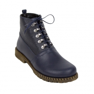 Dark blue leather boots with thick sole 34254
