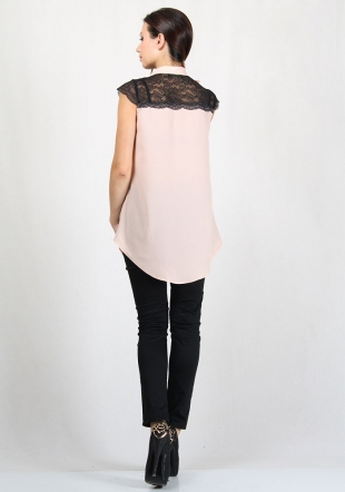 Pale pink shirt with black lace and black trousers RUMENA